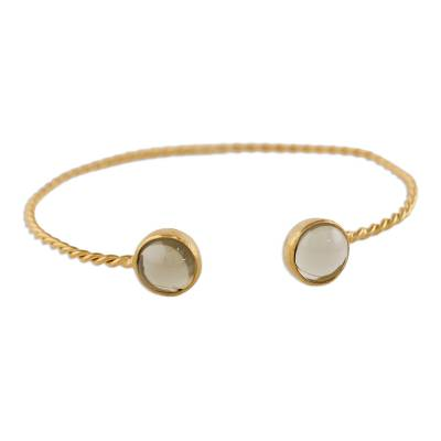 Gold plated smoky quartz cuff bracelet, 'Gold Charm in Brown' - Gold Plated Cuff Bracelet with Smoky Quartz from Thailand