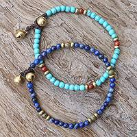 Multi-gemstone beaded bracelets, 'Fantastic Blue'