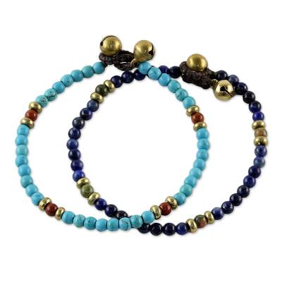 Multi-gemstone beaded bracelets, 'Fantastic Blue' - Two Jasper and Unakite Multi-Gem Beaded Bracelets
