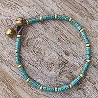 Brass beaded bracelet, 'Temple of Love' - Brass and Reconstituted Turquoise Thai Beaded Bracelet