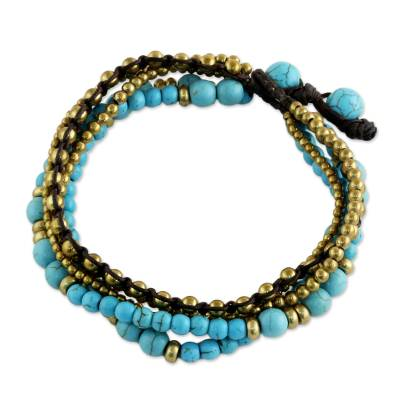 Brass beaded bracelet, 'Fresh Summer' - Brass and Calcite Multi-Strand Beaded Bracelet from Thailand