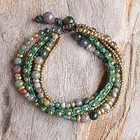Agate beaded bracelet, 'Summer Earth' - Brass and Agate Multi-Strand Beaded Bracelet from Thailand
