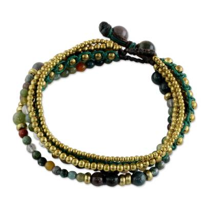 Brass and Agate Multi-Strand Beaded Bracelet from Thailand
