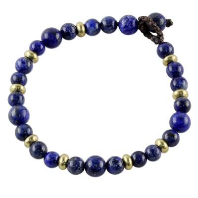 Lapis lazuli beaded bracelet, 'Beautiful Thai in Blue' - Lapis Lazuli and Brass Beaded Bracelet from Thailand