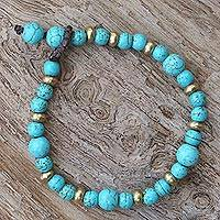 Beaded bracelet, 'Beautiful Thai in Light Blue' - Brass and Calcite Beaded Bracelet from Thailand