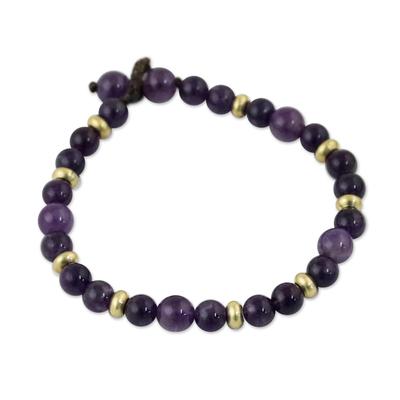 Amethyst beaded bracelet, 'Beautiful Thai in Purple' - Amethyst and Brass Beaded Bracelet from Thailand