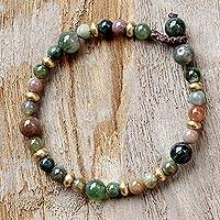 Agate beaded bracelet, 'Beautiful Thai'