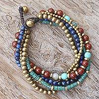 Multi-gemstone beaded bracelet, 'Beads and Bells' - Multi Gemstone Beaded Bracelet from Thailand