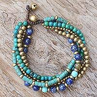 Multi-gemstone beaded bracelet, 'Freedom of Expression in Blue'