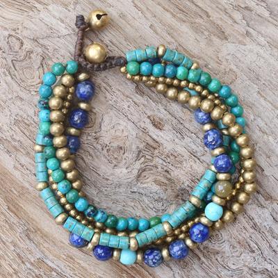 Gemstone Serpentine bead fits charm bracelets small core