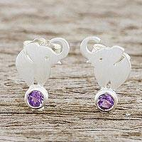 Amethyst button earrings, 'An Elephant's World' - Thai Sterling Silver and Amethyst Elephant Button Earrings