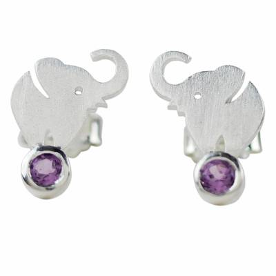 Amethyst button earrings, 'An Elephant's World' - Thai Sterling Silver and Amethyst Elephant Button Earrings