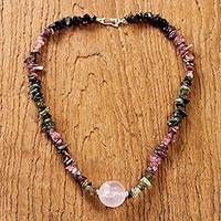Rose quartz and tourmaline pendant necklace, 'Natural Rose' - Thai Rose Quartz and Tourmaline Beaded Pendant Necklace