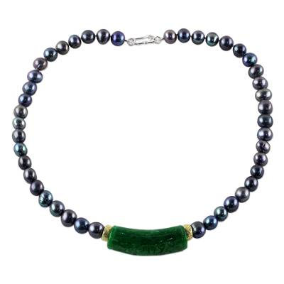Quartz and cultured pearl pendant necklace, 'Luxurious Air in Grey' - Thai Green Quartz and Grey Cultured Pearl Pendant Necklace