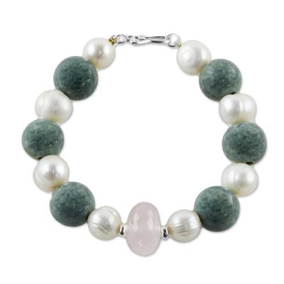 Rose quartz and cultured pearl beaded bracelet, 'Colorful Mix' - Rose Quartz and Cultured Pearl Beaded Bracelet from Thailand