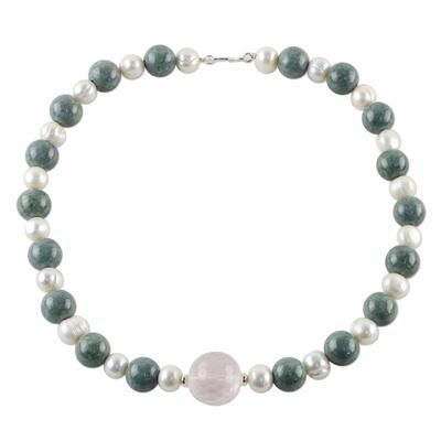 Rose quartz and cultured pearl pendant necklace, 'Colorful Mix' - Thai Rose Quartz and Cultured Pearl Beaded Pendant Necklace