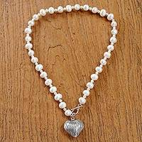 Cultured pearl pendant necklace, 'Loving Treasure'