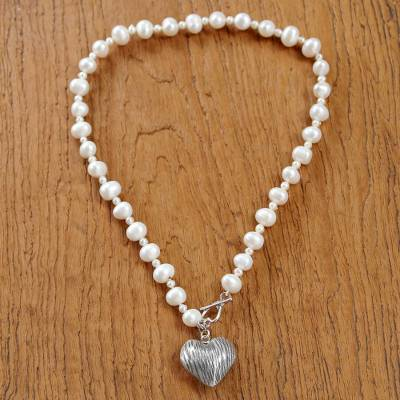 Cultured pearl pendant necklace, 'Loving Treasure' - Sterling Silver and Cultured Pearl Heart Pendant Necklace