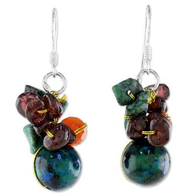 Artisan Made Beaded Dangle Earrings with Garnet and Carnelian