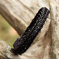 Braided leather wristband bracelet, 'Fun Times in Dark Brown' - Brown Leather Adjustable Braided Bracelet from Thailand