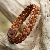 Braided leather wristband bracelet, 'Braided Paths in Light Brown'