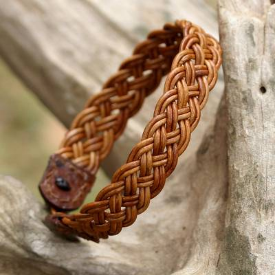 Braided leather wristband bracelet, 'Braided Paths in Light Brown' - Light Brown Leather Braided Bracelet from Thailand