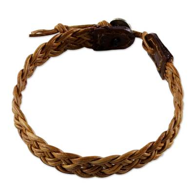 Light Brown Leather Braided Bracelet from Thailand