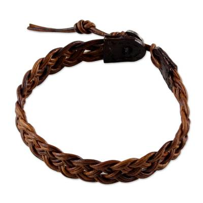 Artisan Crafted Braided Brown Leather Wristband Bracelet