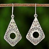 Silver dangle earrings, 'Thai Promise' - Handmade Hill Tribe Silver Dangle Earrings from Thailand