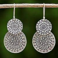 Silver dangle earrings, 'Karen Sunflowers' - Handmade Karen Silver Dangle Earrings from Thailand