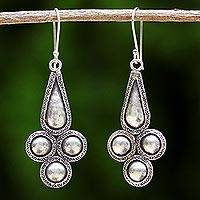 Silver dangle earrings, 'Karen Grace' - Handmade Karen Hill Tribe Silver Dangle Earrings