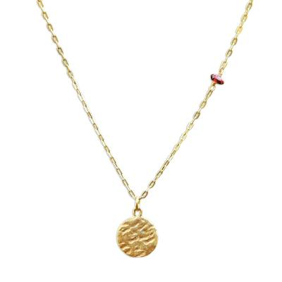 Gold plated sterling silver and brass pendant necklace, 'Pocked Moon' - Gold Plated Sterling Silver and Garnet Pendant Necklace