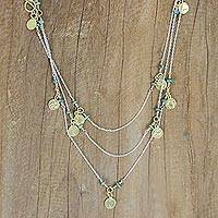Gold accent station necklace, 'Golden Moons' - Necklace with Gold Plated Charms and Reconstituted Turquoise