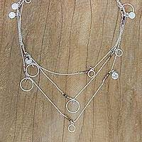 Tourmaline long station necklace, 'Moon Prism' - Thai Sterling Silver Necklace with Tourmaline Accents
