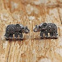 Garnet and marcasite button earrings, 'Glistening Elephants' - Marcasite and Garnet Elephant Button Earrings from Thailand