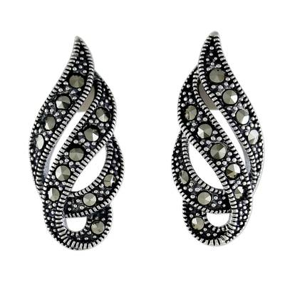 Marcasite and Sterling Silver Button Earrings from Thailand