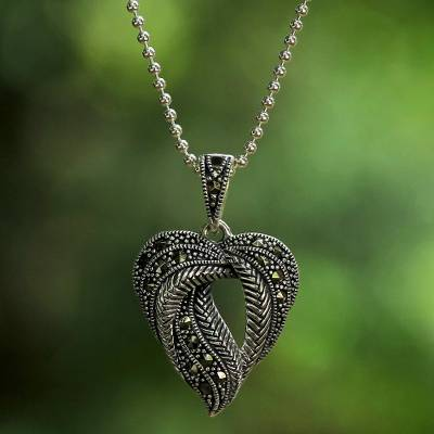 Details about  /CNA Thailand Sterling Silver Marcasite Wheat Chain Circle Pendant Necklace