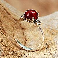 Chalcedony and marcasite cocktail ring, 'Red Bubble'