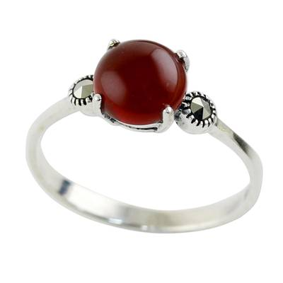 Chalcedony and marcasite cocktail ring, 'Red Bubble' - Chalcedony and Marcasite Cocktail Ring from Thailand