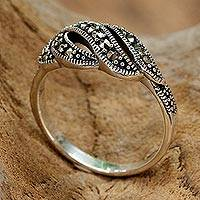 Marcasite cocktail ring, 'Glistening Ribbons'