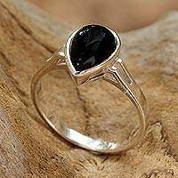 Onyx cocktail ring, 'Darkest Rain' - Onyx and Sterling Silver Cocktail Ring from Thailand