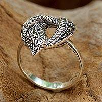 Marcasite cocktail ring, 'Natural Heart' - Marcasite and Sterling Silver Cocktail Ring from Thailand