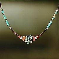 Multi-gemstone beaded necklace, 'Bohemian Harmony' - Fair Trade Multi Gemstone Beaded Necklace