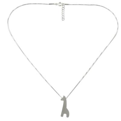 Sterling silver pendant necklace, 'Playful Giraffe' - Sterling Silver Giraffe Silhouette Pendant Necklace