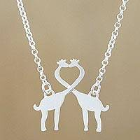 Sterling silver pendant necklace, 'Giraffe Kisses'
