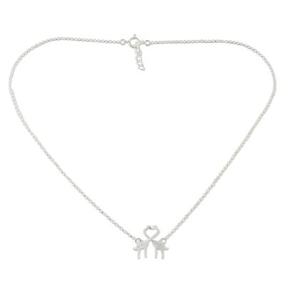 Sterling silver pendant necklace, 'Giraffe Kisses' - Sterling Silver Giraffe Kiss Pendant Necklace from Thailand