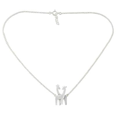 Sterling silver pendant necklace, 'Giraffe Love' - Sterling Silver Giraffe Pendant Necklace from Thailand