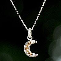 Citrine pendant necklace, 'Citrus Crescent Moon'