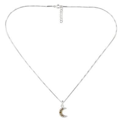 Citrine pendant necklace, 'Citrus Crescent Moon' - Handcrafted Sterling Silver and Citrine Moon Theme Necklace