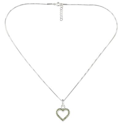 Peridot pendant necklace, 'Happy Heart in Love' - Thai Sterling Silver and Peridot Heart Pendant Necklace